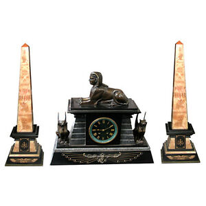 Collectibles Shelf, Mantel 3-piece Egyptian Revival Bronze & Marble Clock Set #5306 With The Most Up-To-Date Equipment And Techniques