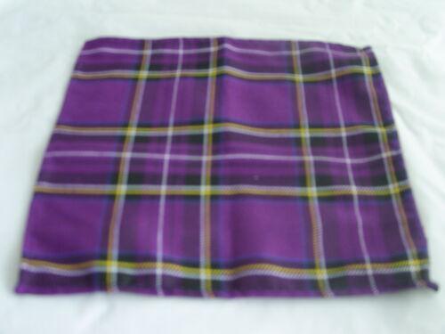 """Cummerbund and Hanky Set-24/"""" to 46/""""= 60cm to 115cm Waist TARTAN-Purple Bow tie"""