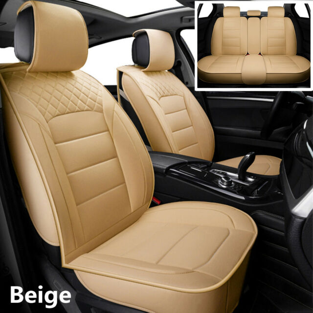 Admirable Beige Luxury Pu Leather Front Rear Car Seat Cover Universal Interior Accessories Theyellowbook Wood Chair Design Ideas Theyellowbookinfo