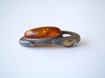 Professional Sale Honig Bernstein Anhänger Aus Geprüftem Silber Ohne Stempel 3,1 G/3,2 X 0,9 Cm Jewelry & Watches Fine Jewelry