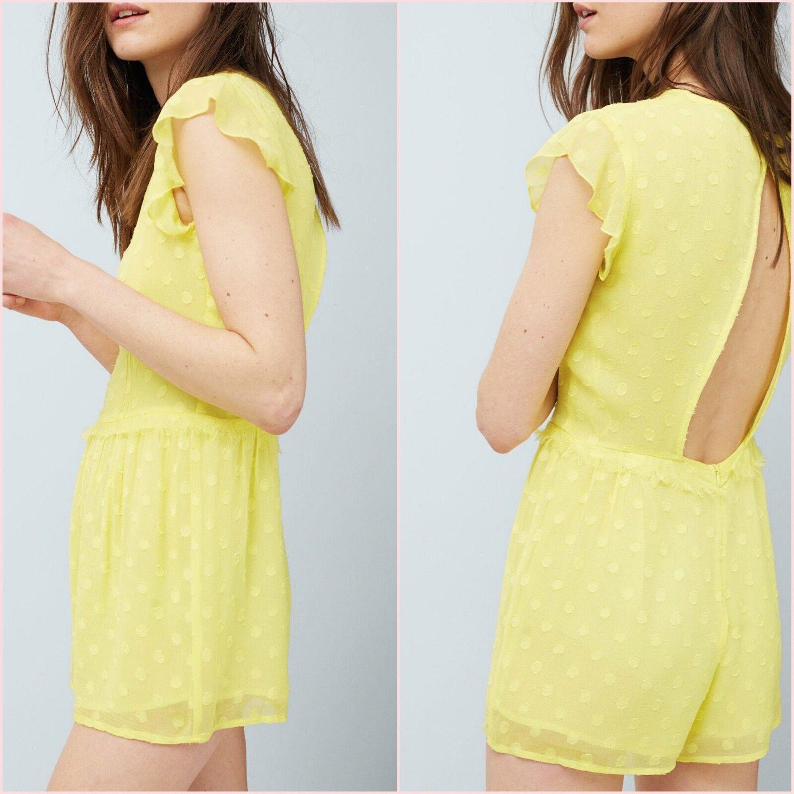 Yellow Polka Dot Short Sleeve Playsuit Mango Size 12 14 US 8 10 Zara Blogger