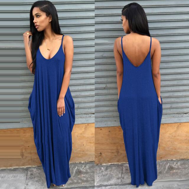 2e22b3abe257f Women Boho Long Maxi Dress Loose Plus Size Beach Holiday Casual Summer  Sundress  5 Black 3xl