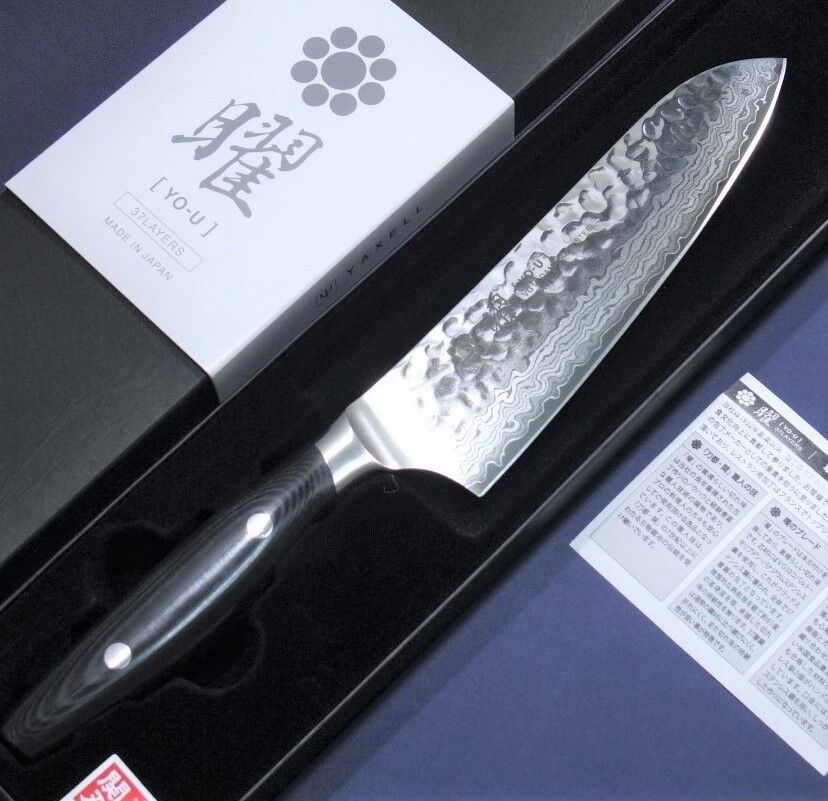 Japanese Santoku Knife YO-U Hummerouge 37layers Damascus VG10 165mm Made in Japan