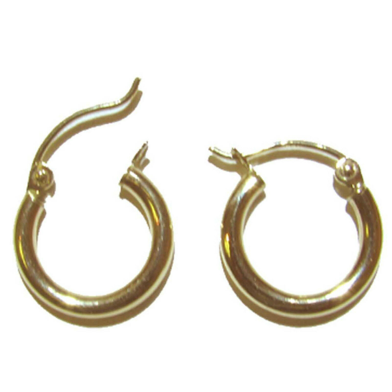 14K Solid Yellow gold Hoop Earring. 3 mm x 16 mm New  E7316-40