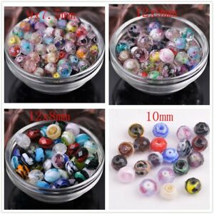 10pcs-9-10-12mm-Lampwork-Glass-Rondelle-Faceted-Charm-Loose-Spacer-Beads-Craft