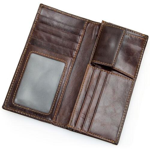 Men/'s RFID bloc en cuir véritable ID Fenêtre Poche Zippée deux volets long Clutch Wallet