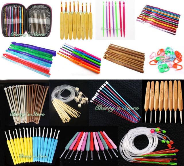 New Various of Aluminum Metal Plastic Bamboo Crochet Hooks Knitting Needles Set