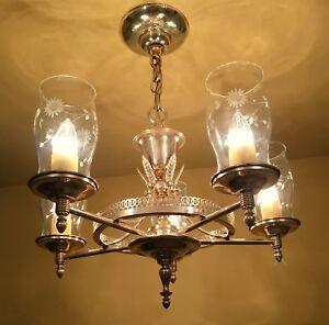 Details About Vintage Lighting 1940s Lehrolite Silver Chandelier