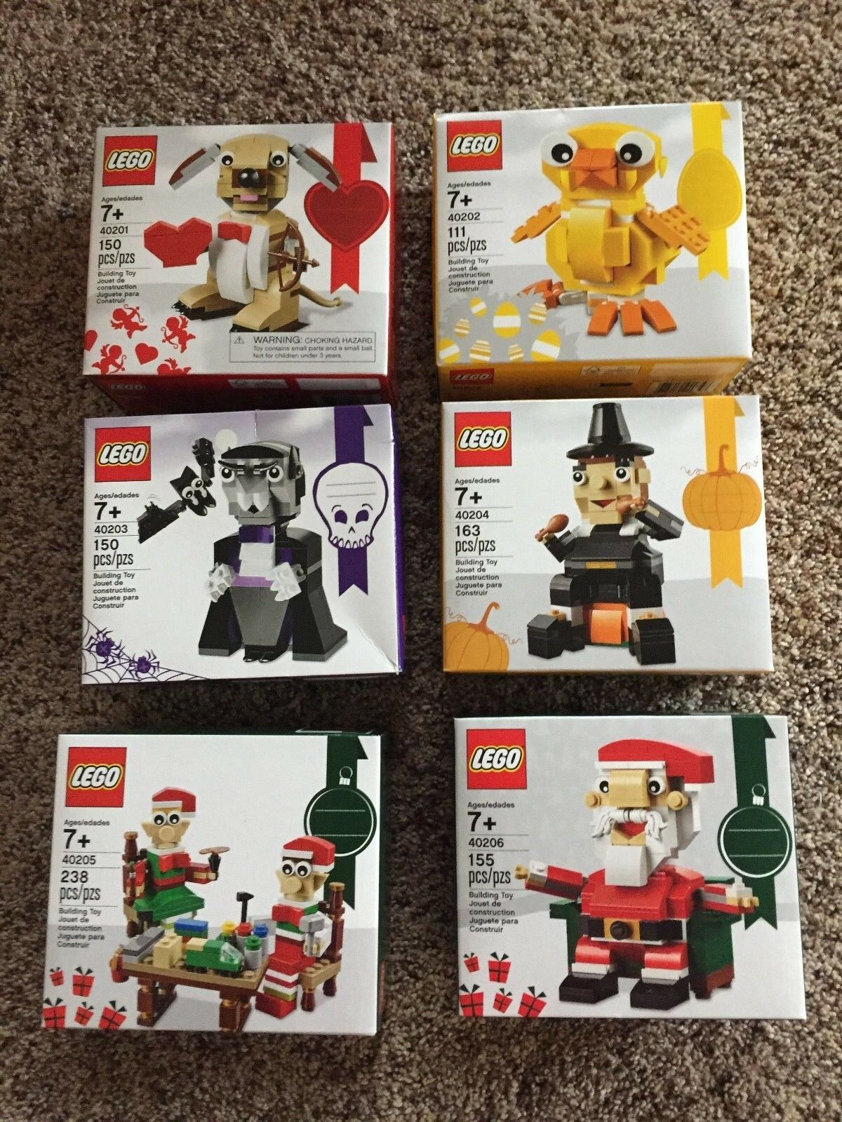 6~LEGO 2016 Sets 40201 40202 40203 40204 40205 40206 Thanksgiving, Christmas NEW