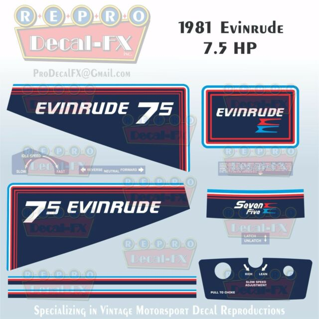 1981 Evinrude 75 HP Outboard Reproduction 11 Piece Marine Vinyl Decals 8RCI