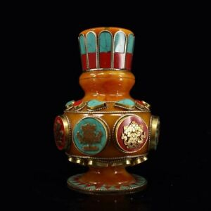Chinese-Antique-Tibetan-style-beeswax-set-with-gemstones-eight-treasures-vase