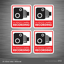 CCTV112 - Set Of 4 In Vehicle Camera Recording Car Sign Sticker - CCTV - Dashcam