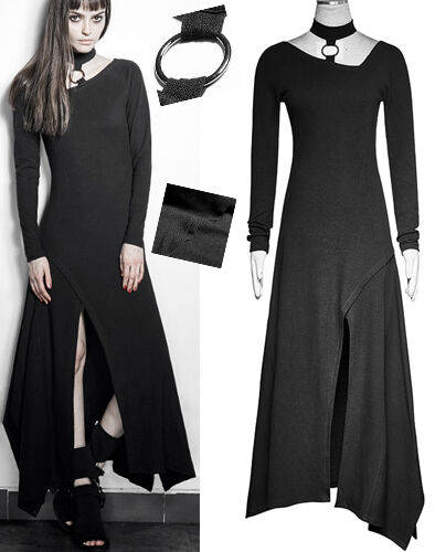Robe longue maille asymétrique fendue gothique punk lolita collier mode Punkrave