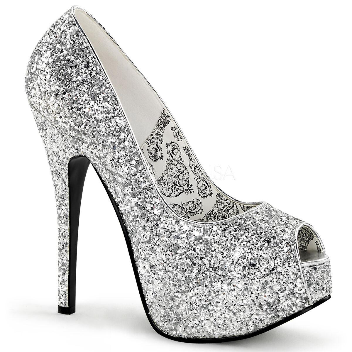 SALE Sexy Silver Glitter Hidden Platform Peep Toe High Heel Pump shoes  7