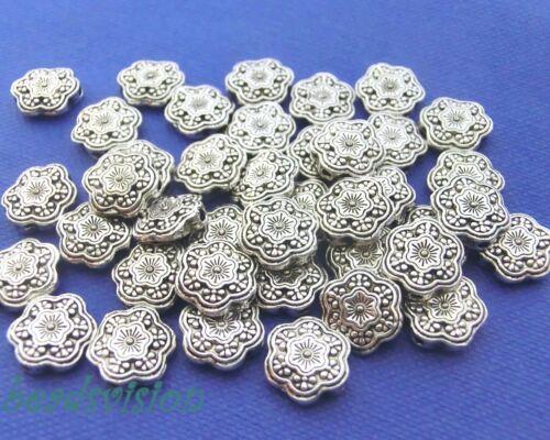40 Spacer 10 mm fleur pièce de monnaie Métal Perles Entre Perles Couleur Antique Argent #s578
