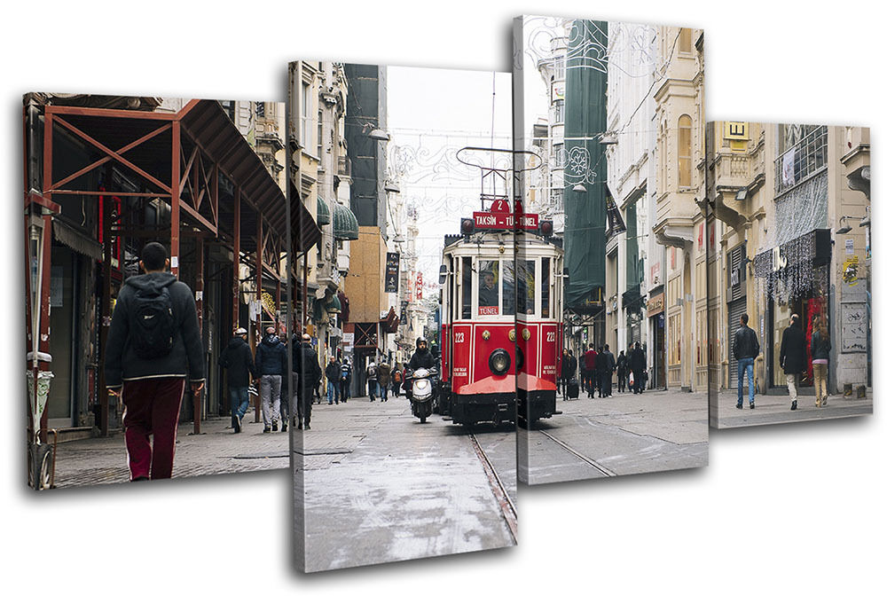 Turkey Street Tram City MULTI Leinwand Wand Kunst Bild drucken
