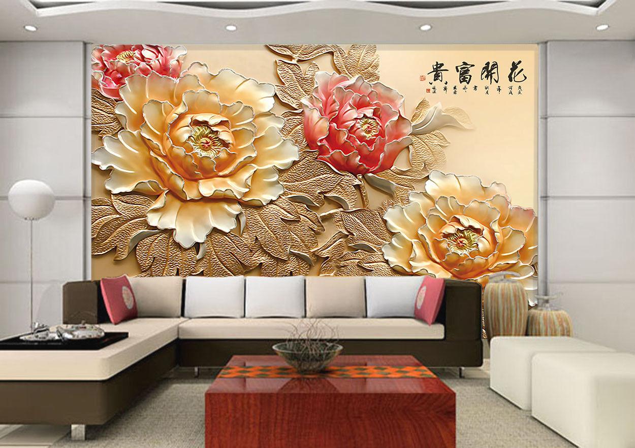 3D Flowers Wealthy 736 Wall Paper Murals Wall Print Wall Wallpaper Mural AU Kyra