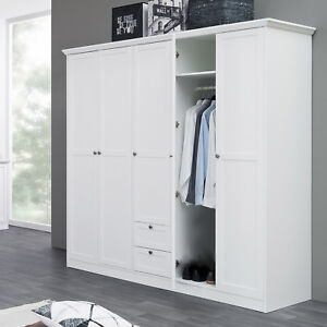 kleiderschrank landwood dreht renschrank schrank in wei 5 t rig landhausstil ebay. Black Bedroom Furniture Sets. Home Design Ideas