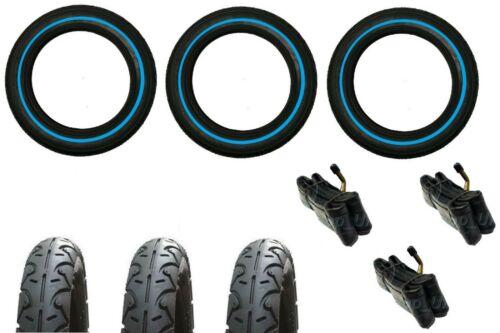 "BLUE LINE 3 x Bent Valve tubes 3 x URBAN DETOUR DOUBLE 3 x 12/"" Pram Tyres"