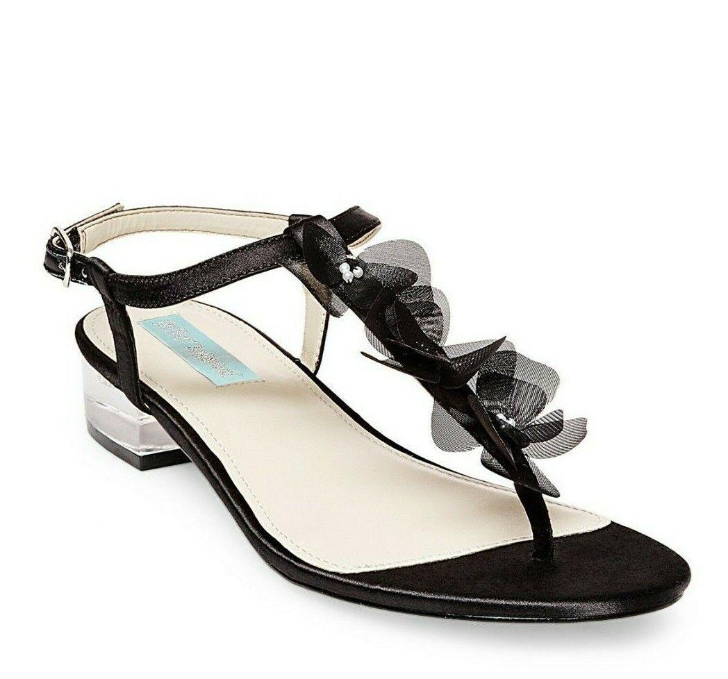 New  129 BETSEY JOHNSON 'Olive' Clear Block Heel Sandal Tulle Flowers sz 7.5