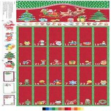 Christmas Advent Calendar Red and Green Cotton Quilting Panel Fabric Nutex 88760