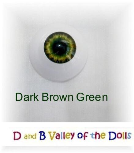 REBORN DOLL Half Rounds 14 mm Real Eyes Dark Brown Green ~ REBORN DOLL SUPPLIES