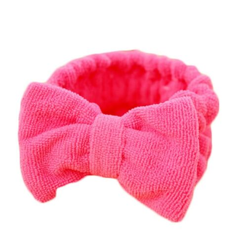 Details about  /Spa Headband Korean Style Bow Head Wrap Soft Elastic Stretchy Towel Pink