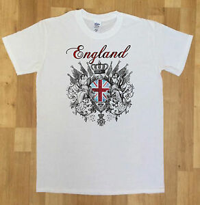 Détails Sur Drapeau Angleterre Pour Homme Couronne Shieldt Shirt Nouveauté Imprimer Afficher Le Titre Dorigine