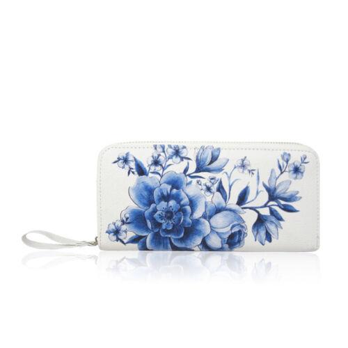 Donna Disegno Floreale Lungo Zip Portamonete Porta Carte Portafoglio da Donna Nuovo Regno Unito