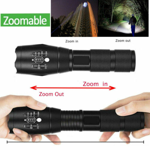 Powerful 90000LM T6 LED Flashlight Zoomable Focus Military 18650 Battery+Torch