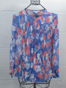 Diane-Von-Furstenberg-Blue-Floral-Sheer-100-Silk-Button-Down-Blouse-Size-14