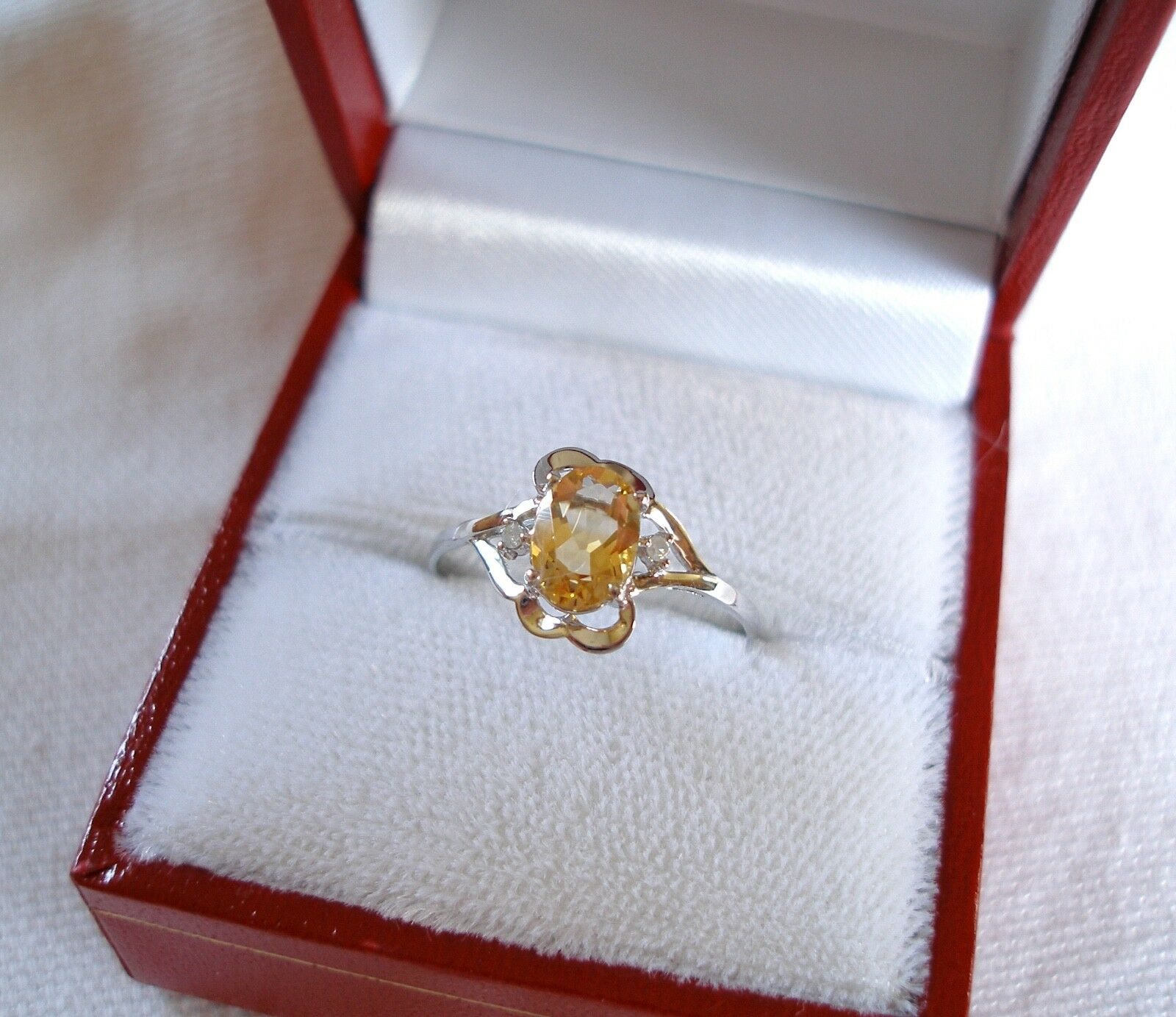 .76 Ct. Citrine Solitaire & Diamond  10k White gold Ring