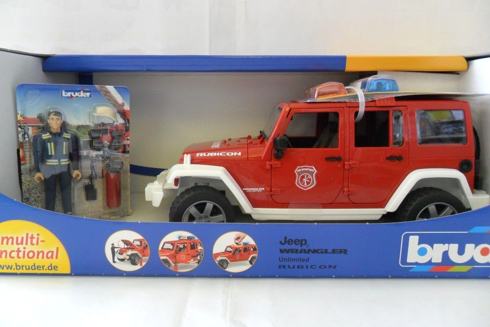 BRUDER 1 16 JEEP WRANGLER UNLIMITED RUBICON POMPIERI FIRE DEPARTMENT  ART 02528
