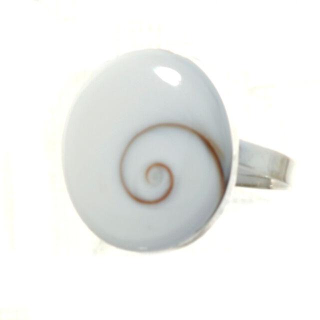 Silber Ring mit Shiva Auge Muschel, Operculum 1,8 - 2,6 cm Länge 925 Sterling S.