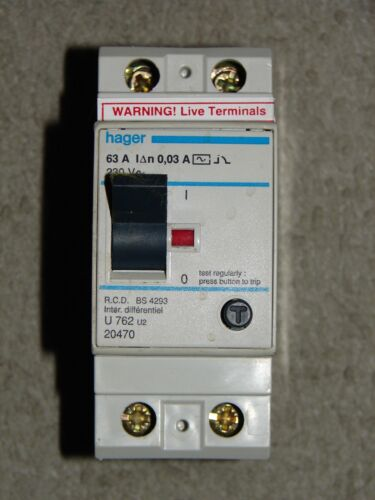 HAGER 63 A 30 mA 230 V RCD pour BS 4293