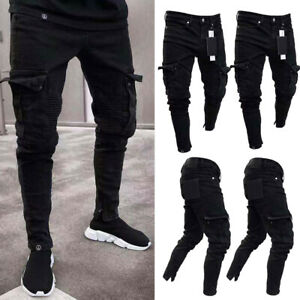 NEW-Men-039-s-Denim-Skinny-Biker-Jeans-Destroyed-Frayed-Slim-Fit-Pocket-Cargo-Pants