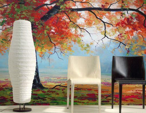 3D Erba, alberi 16 Parete Murale Carta da parati immagine sfondo muro stampa