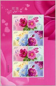China-PRC-2020-10-Rosen-Blumen-Blueten-Pflanzen-Roses-Kleinbogen-Postfrisch-MNH