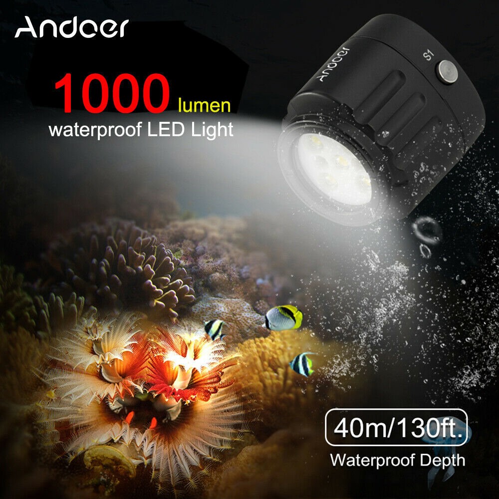 Andoer 1000LM Waterproof Diving LED Video Light Underwater 40m for GoPro X6M3