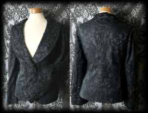 Goth-Black-Lace-Highly-Detailed-DELINQUENT-Coat-Jacket-12-14-Victorian-Vintage