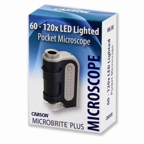 Carson Optical MM-300 Microbrite Plus 60X-120X LED-Lit Lighted Pocket Microscope