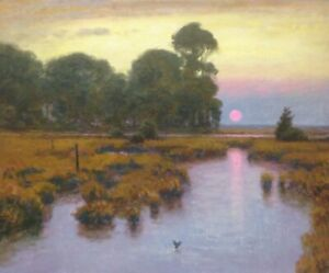 Lrg-24x20-Sun-Twilight-Marsh-Impressionism-wetlands-Landscape-Art-Oil-Painting