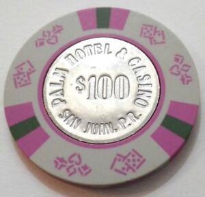 $100 CARIBE HILTON GRAY BLACK Casino Chip Condado SAN JUAN Puerto Rico Bud Jones