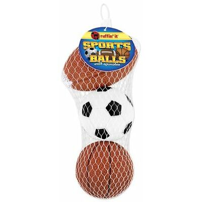 Ruffin' It 3-Pack Vinyl Sports Ball in Mesh Bag for Pets