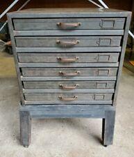 Vintage Industrial 6 Drawer Metal Printer Shop Cabinet With Letters Amp Numbers