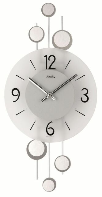 AMS 9388 Modern Wall Clock with Quartzwerk, Battery Powered