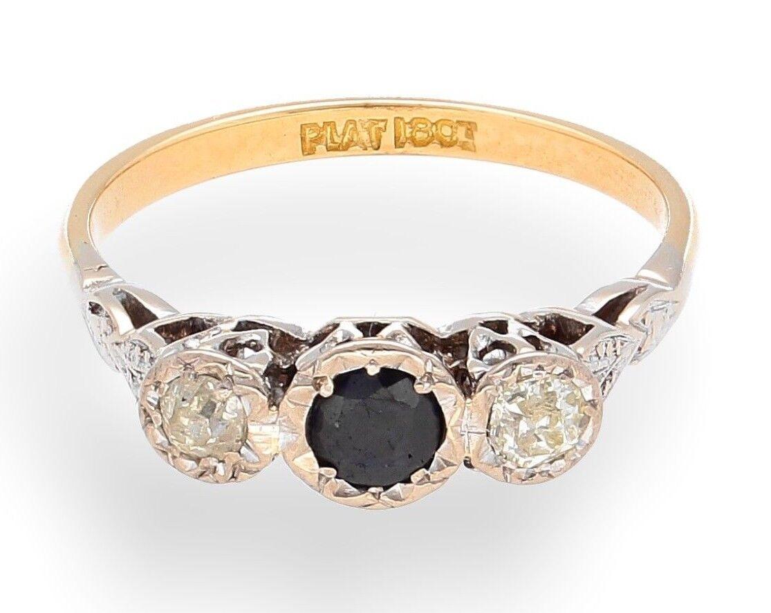 Antique 18ct & Platinum Yellow gold Three-Stone Sapphire & Diamond Ring (Size O)