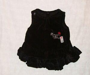 Vêtement Fille Robe Velours Noir Sucre D'orge Mademoiselle Beauté 12 Mois Tbé Crease-Resistance Bébé, Puériculture Vêtements Filles (0-24 Mois)