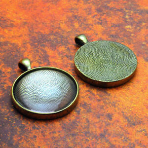 "10 QTY - 38MM 1.5"" INCH ROUND ANTIQUE BRASS Photo Pendant Tray Bezel & GLASS"