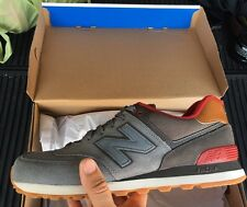 Men's New Balance 574 Collegiate Casual Shoes Gunmetal/Raven/Red ML574 SZ 10